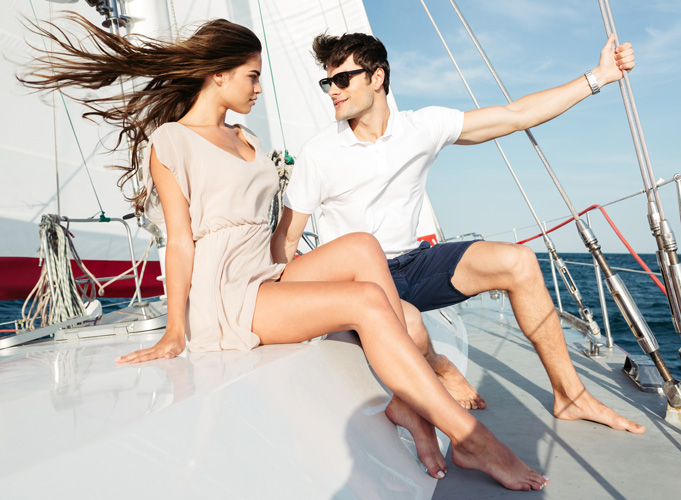 man and woman on boat